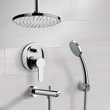 Chrome Tub and Shower System with Rain Ceiling Shower Head and Hand Shower